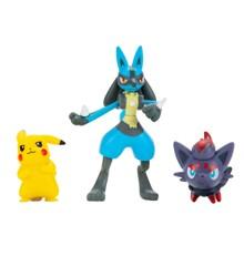 Pokemon - Battle Figur Sæt 3-Pakke - Zorua, Pikachu, Lucario