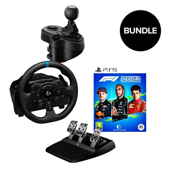 Logitech - G923 Racing Wheel and Pedals + Gearshifter + F1 2021 (ps5) - Bundle