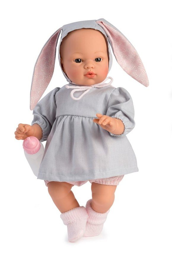 Asi dolls - Koke doll in gray dress with a hood with rabbit ears