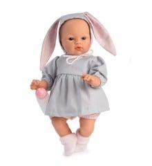 Asi dolls - Koke dukke i grå dragt med lyserøde kaninører