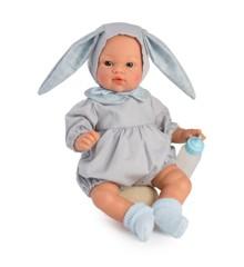 Asi dolls - Koke dukke i grå dragt med blå kaninører