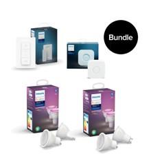 Philips Hue -  GU10 2x 2-Pack & Hue Bridge &  New Dimmer Switch - Bundle