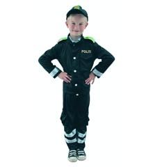 Udklædning - Dansk Politibetjent med skjorte og kasket (110-128 cm)