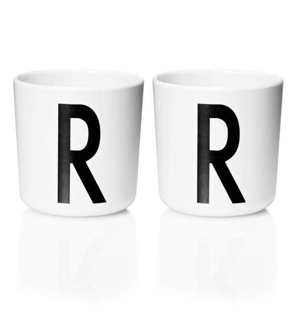 Design Letters - Personal Melamine Cup R - 2 pcs - White