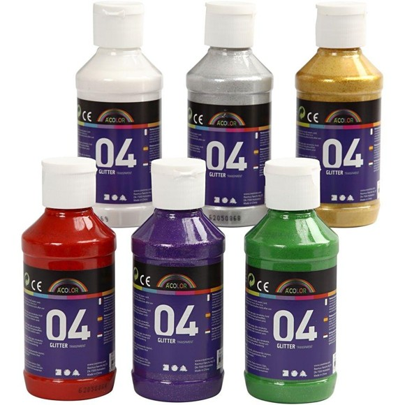 A-Color - Akrylmaling - Assorterede farver - 04 - Glitter - 6x120ml