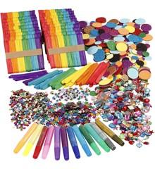 DIY Kit - Glitter, Glimmer og Træpinde Mega Sæt
