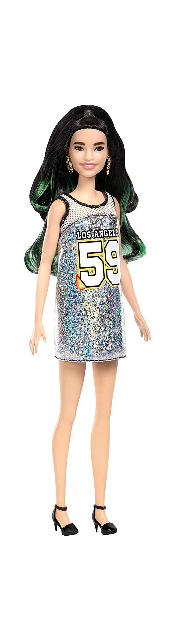 Barbie - Fashionistas - - Los Angeles Kjole - Sort/Grønt Hår