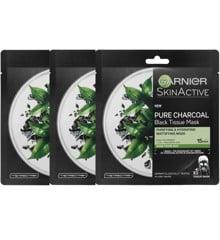 Garnier - 3x Face Pure Charcoal Black Tissue Mask Black Tea
