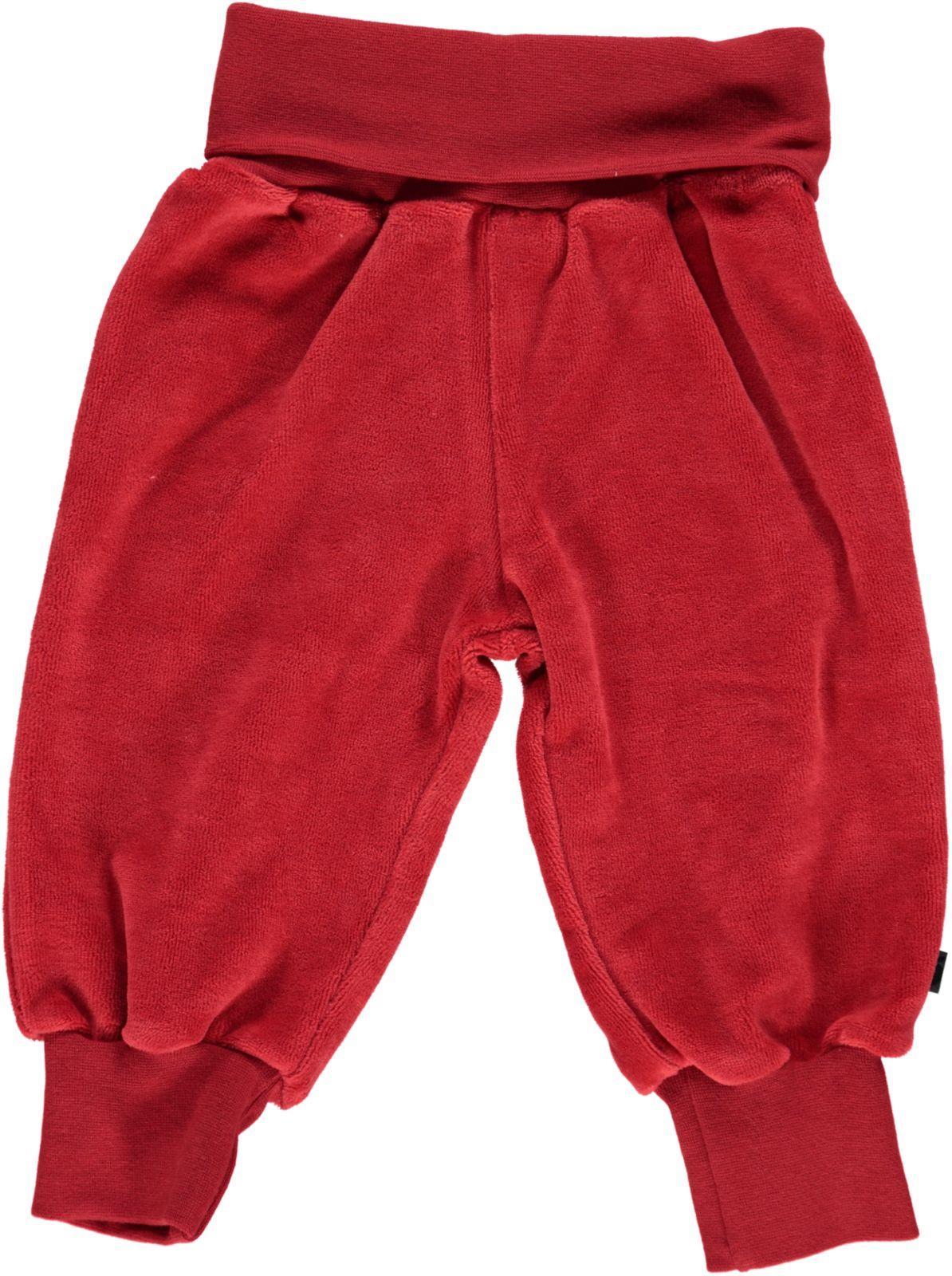 Småfolk - Velvet Baby Waistband Pants - Dark Red
