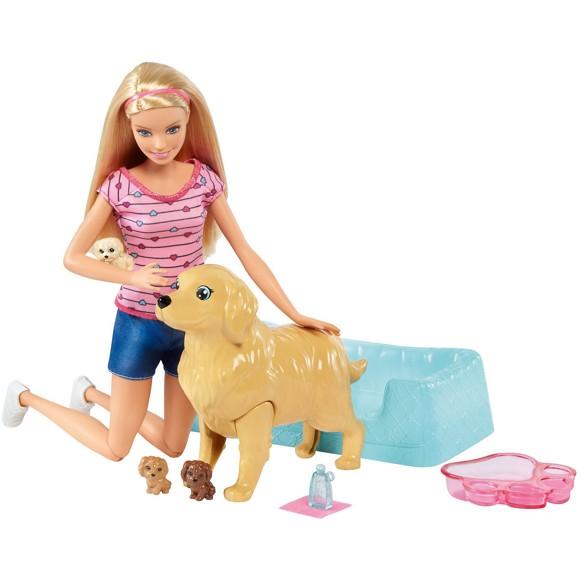 Barbie - Nyfødte Hvalpe og Dukke