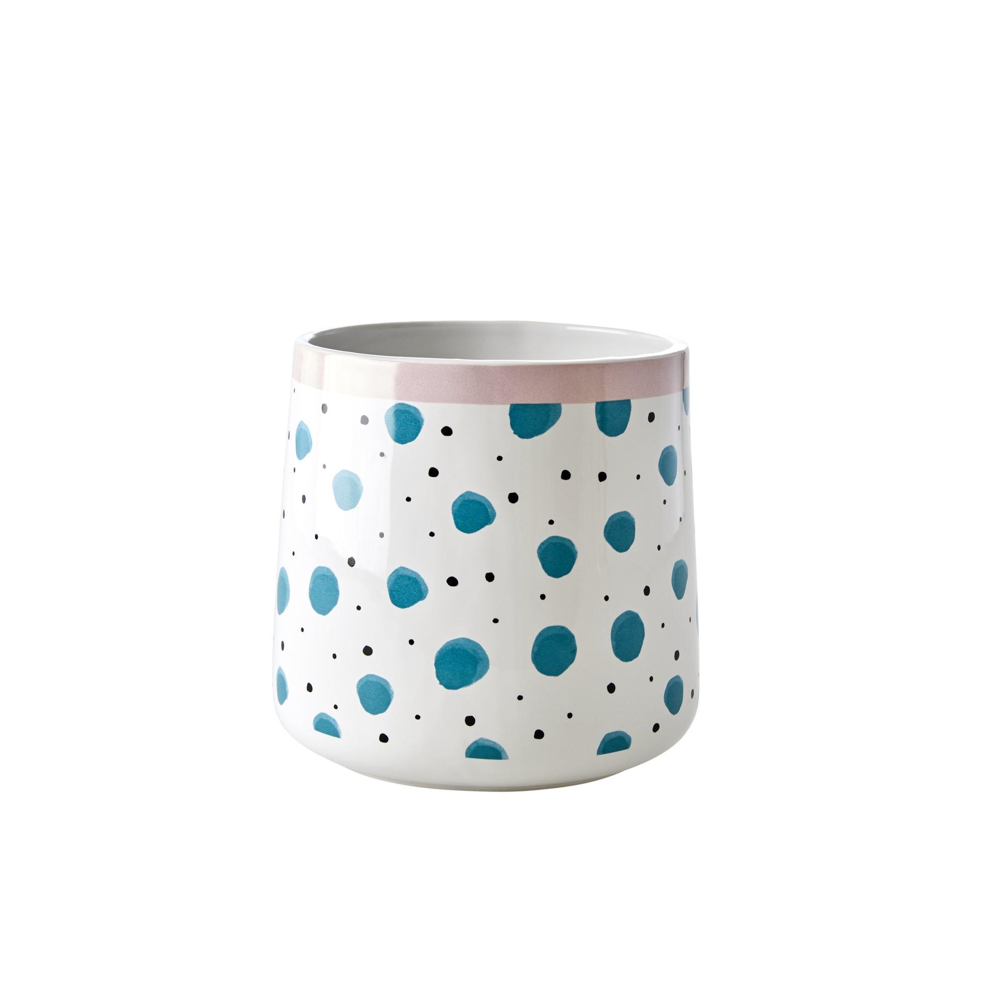 Rice - Ceramic Jar for Utensils - Green Watercolor Splash