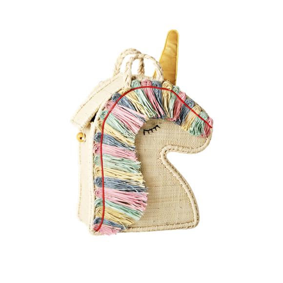 Rice - Raffia Kids Bag in Unicorn Shape