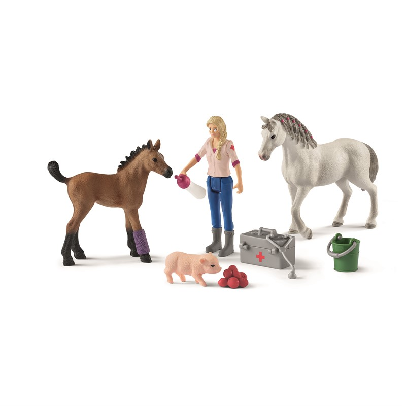 Schleich - Vet visiting mare and foal (42486)