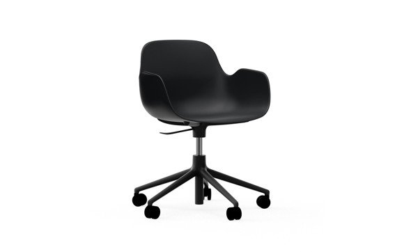 Normann Copenhagen - Form Swivel Arm Chair With Wheel - Black/Black Alu Legs (606152)