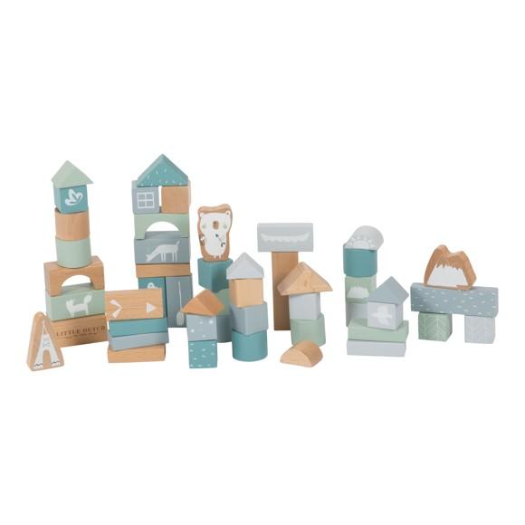 Little Dutch - Blue Wooden Blocks, 50 pcs (LDW4413)