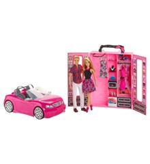 Barbie - Mega sæt med dukker, garderobeskab og bil