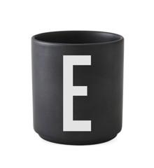 Design Letters - Personlig Porcelænskop E - Sort