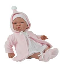 Asi dukker - Maria dukke med hvid kjole og rosa frakke, 43 cm