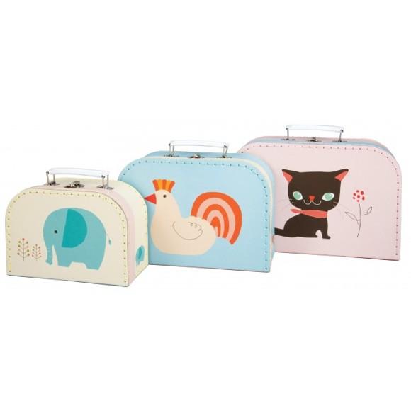 Magni - Kuffertsæt (3 stk) - Elefant, Høne og Kat