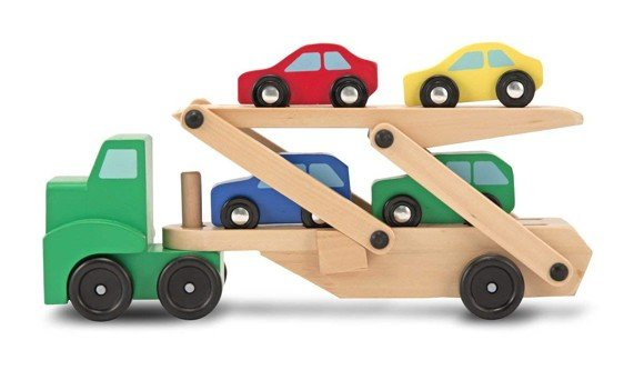 Melissa & Doug - Wooden Car Transporter and 4 Cars (14096)