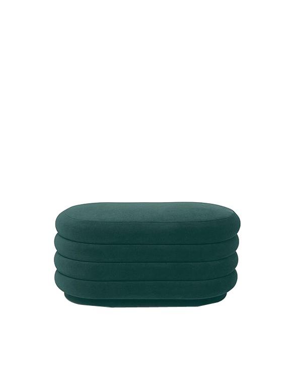 Ferm Living - Pouf Oval Medium - Dark Green (9453)