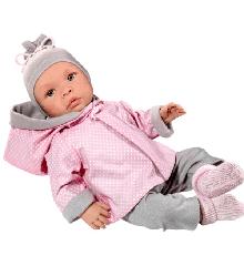 Asi dukker - Leonora dukke i grå og rosa dukketøj, 46 cm