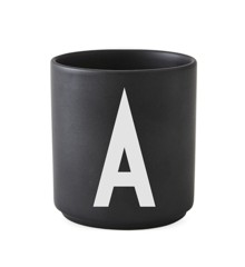 Design Letters - Personlig Porcelænskop A - Sort