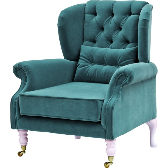 Rice - Velvet Wing Chair + Small Cushion - Petrol w. Soft Pink Legs