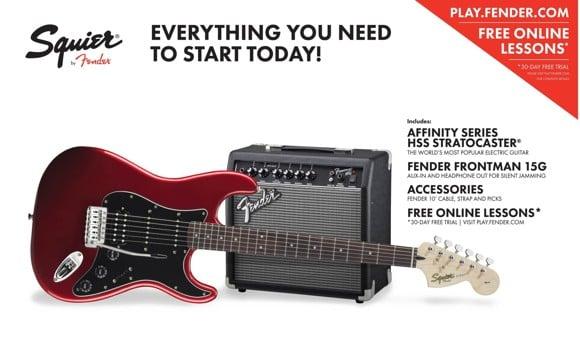 Squier By Fender - HSS Stratocaster - Elektrisk Guitar Start Pakke (Candy Apple Red)