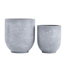 House Doctor - Gard Flowerpots Set Of 2 - Grey (LY0100)