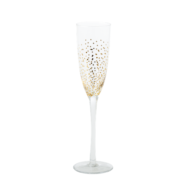 ?Rice - Champagne Glass with Gold Dots