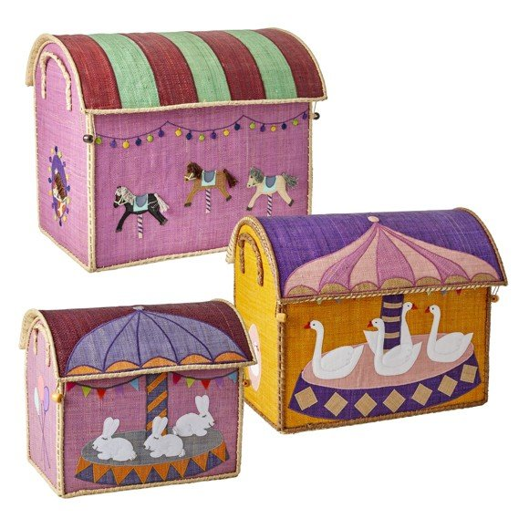 Rice - Large Set of 3 Toy Baskets - Carousel Theme