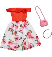 Barbie - Complete Looks - Red Floral Off The Shoulders Dress (FXJ15)