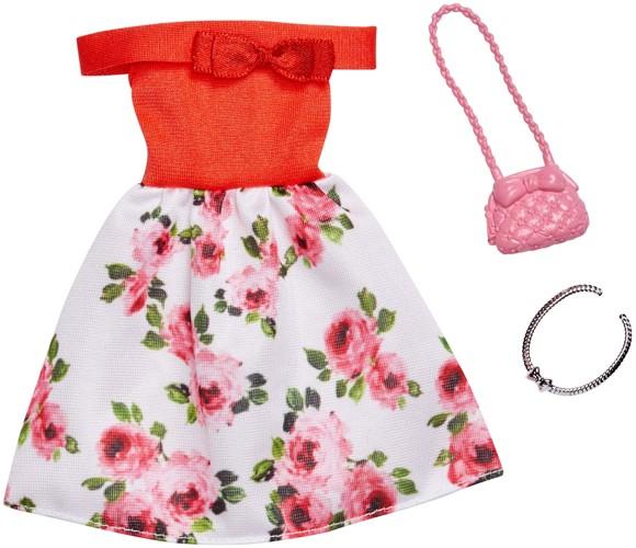 Barbie - Complete Looks - Red Floral Off The Shoulders Dress (FXJ15)