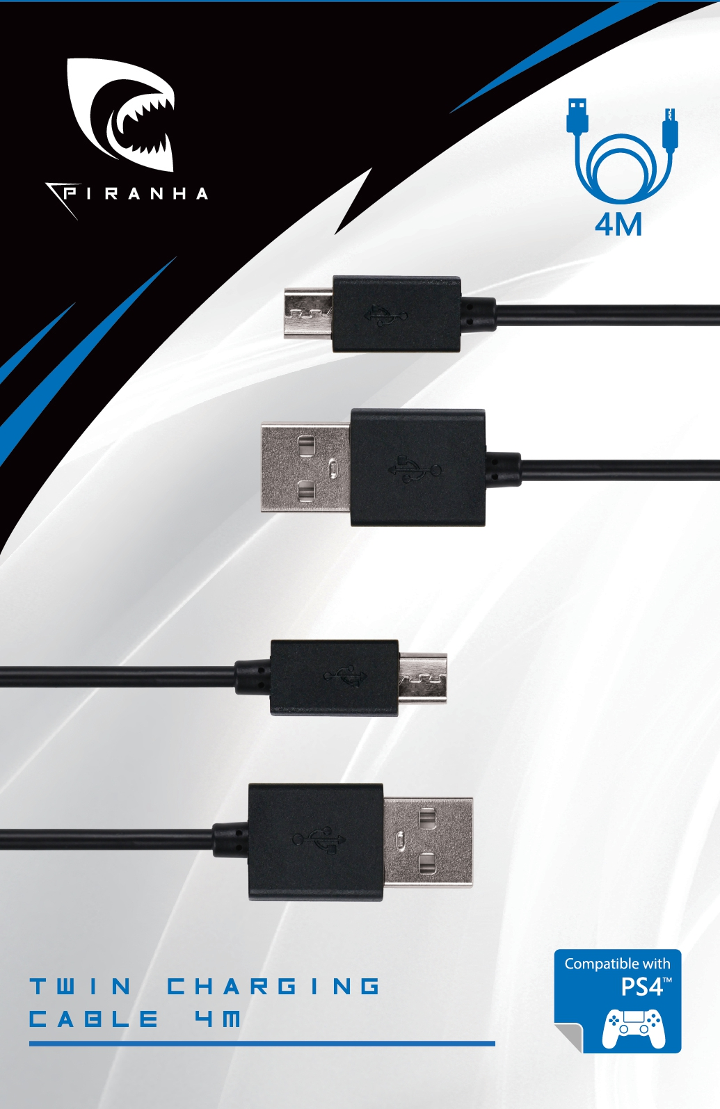 Piranha PS4 Twin Charging Cable 4M