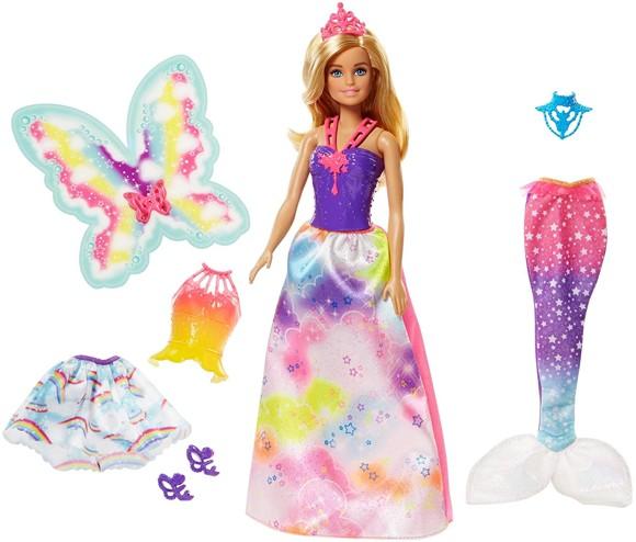 Barbie - Dreamtopia Dukke med 3 Kostumer (FJD08)