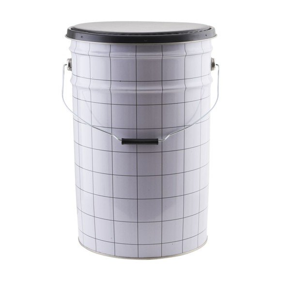 House Doctor - The Bucket Laundry Basket/Stool - White/Black (CJ0803)