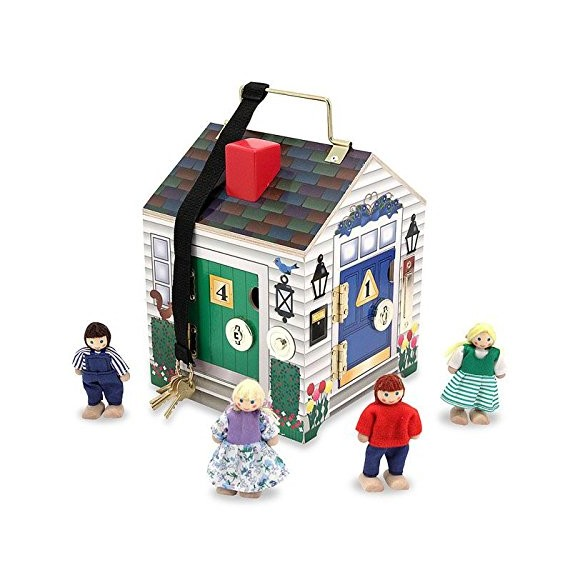 Melissa & Doug - Take-Along Wooden Doorbell Doll's House (12505)