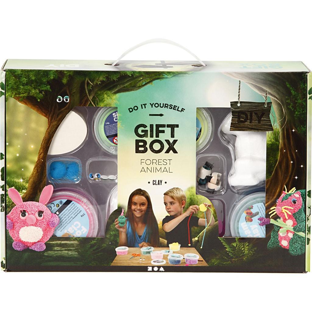 DIY Kit - Geschenkbox für kreatives Gestalten - Waldwesen aus Knetmasse