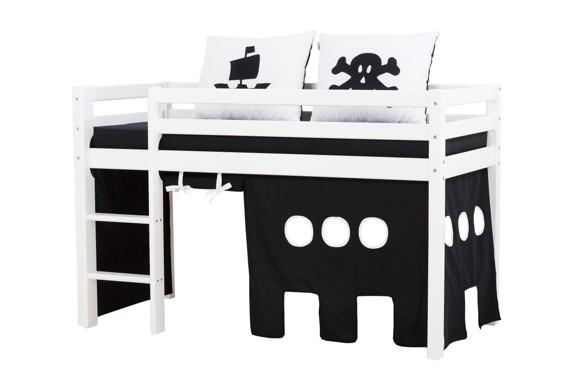 Hoppekids - BASIC Halvhøj seng med skummadreas + madrasbetræk + forhæng 70x160 - Pirat