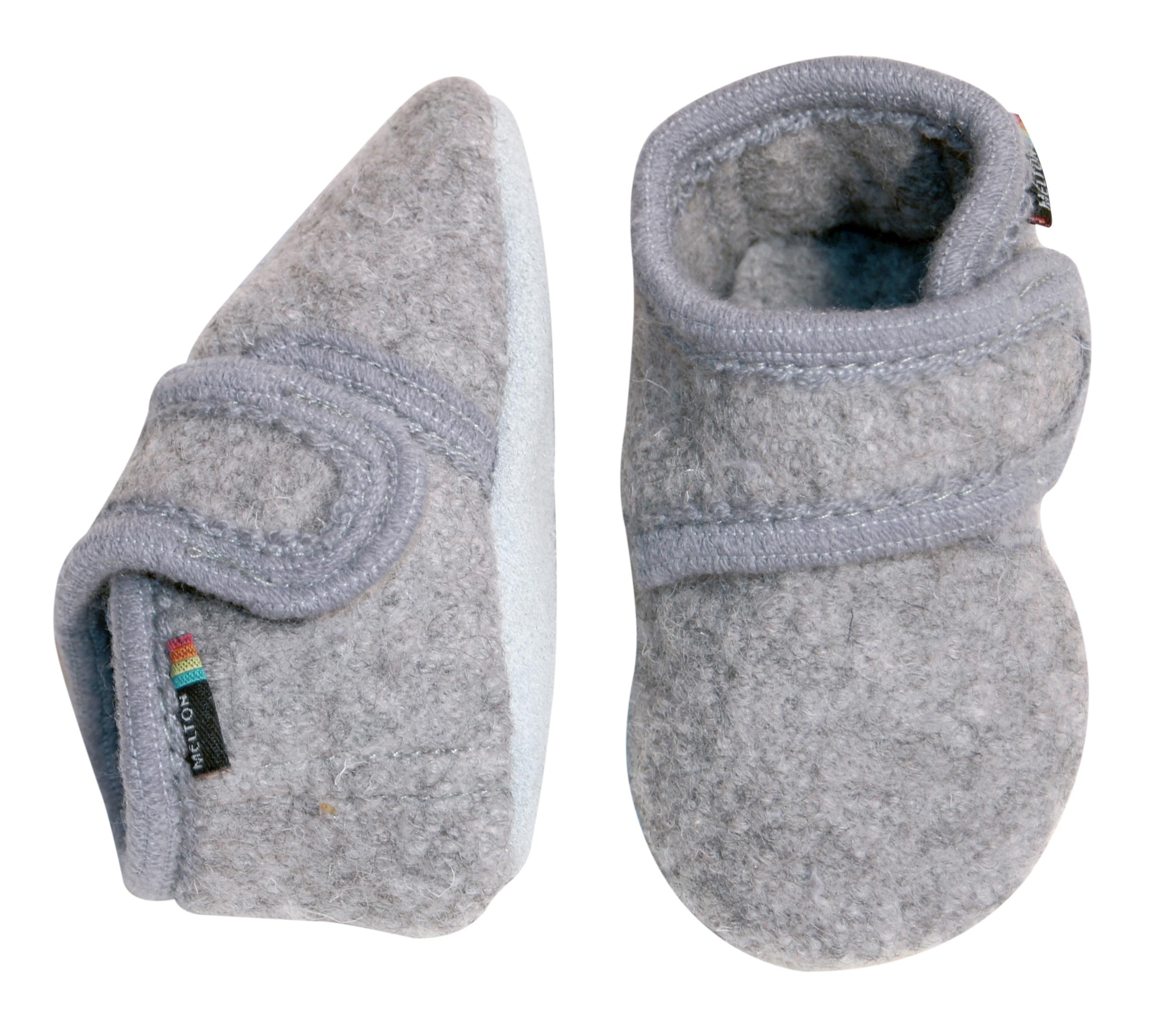 Melton - Wool soft shoe w/velcro - Light Grey (4711-135)