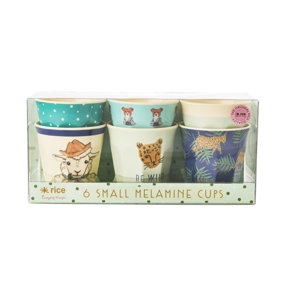 Rice - Melamine Cups 6 Pcs Small - Green Animals