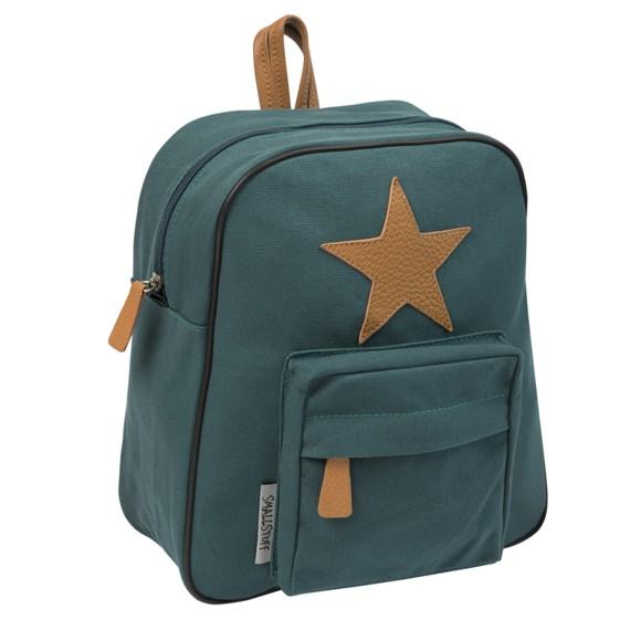 Smallstuff - Little Backpack w. Leather Star - Dark Green