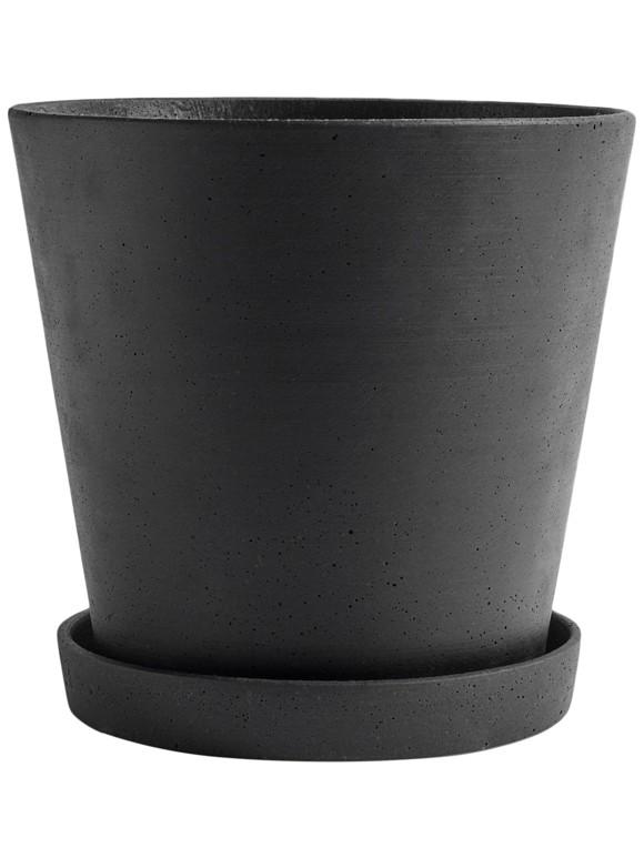 HAY - Flowerpot w/saucer XXL - Black