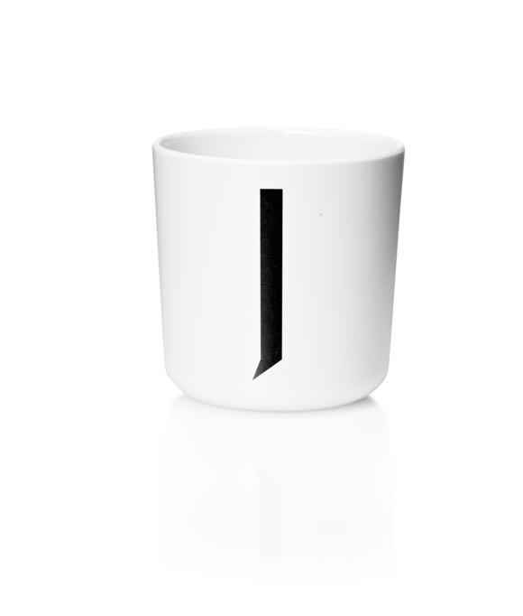 Design Letters - Personal Melamine Cup J - White (20201000J)