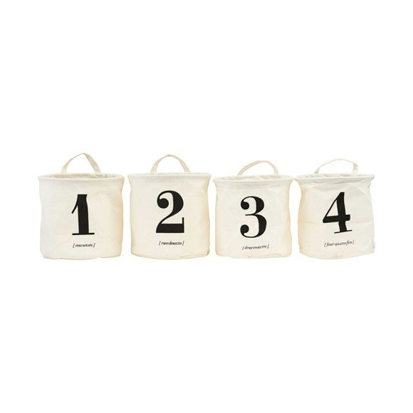 House Doctor - Basket With Print 1-2-3-4 (LS0416)