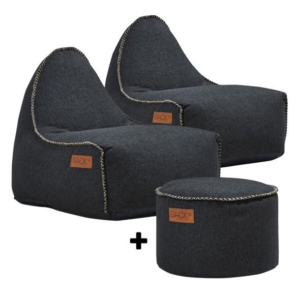 SACKit - 2 x RETROit Cobana + RETROit Cobana Drum Puf - Black ( Kan bruges udendørs )