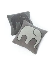 Smallstuff - Cushion w. Elephant  35x35 cm. - Soft Grey