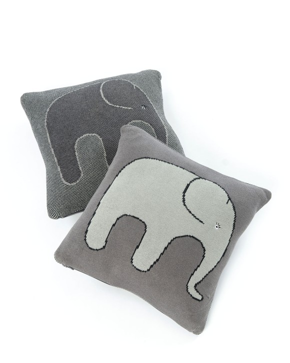 Smallstuff - Pude Elefant  35x35 cm. - Soft Grey