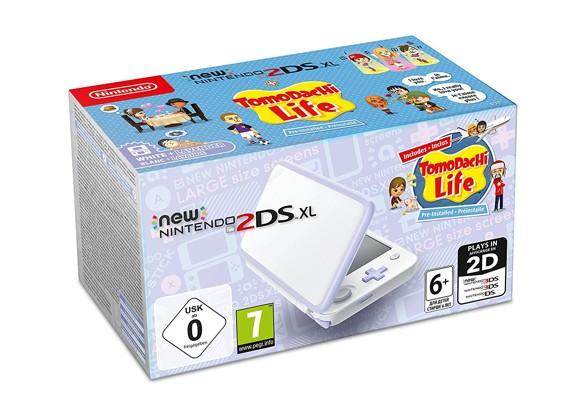 New Nintendo 2DS XL White + Lavender + Tomodachi Life